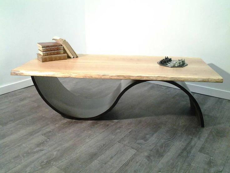 table basse contemporaine et naturelle plateau en ch ne massif aspect tr s a rien mobilier. Black Bedroom Furniture Sets. Home Design Ideas