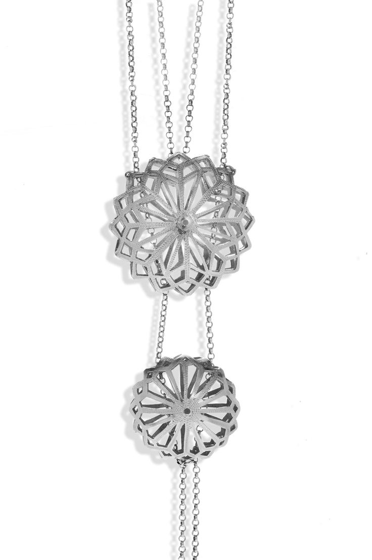 Handmade Long Silver Chain Necklace With a Double Sea Urchin Pendant - Anthos Crafts