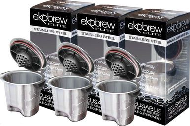 Ekobrew Elite Reusable K-Cup Filter For Keurig Brewers, Stainless Steel (3 Pack)