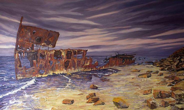 Gayundah:  On the Beach. 200cm x 120cm Oil on Canvas.
