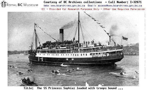SS Princess Sophia, Loaded with Troops Leaving Vancouver