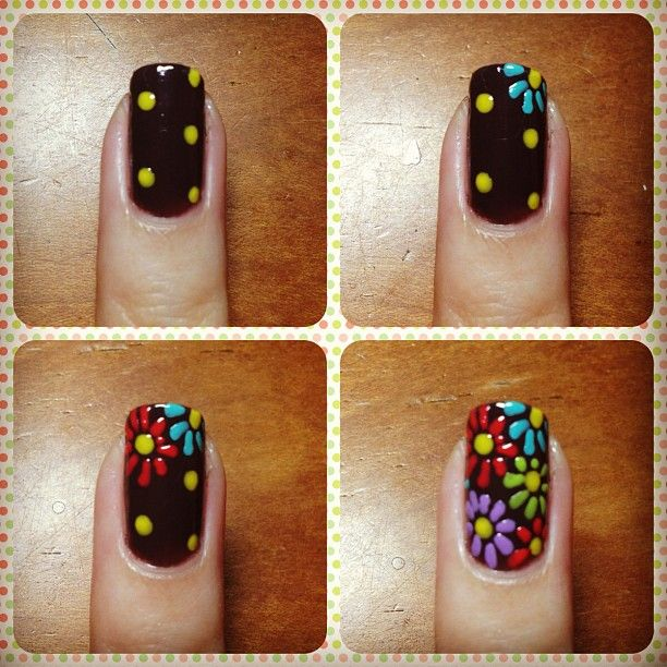 how to flower nail art - bright flowers on black
