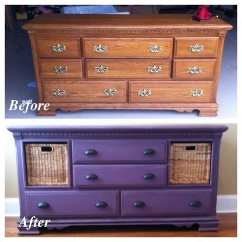 Purple refurbished dresser with baskets. I love the basket idea instead of drawers