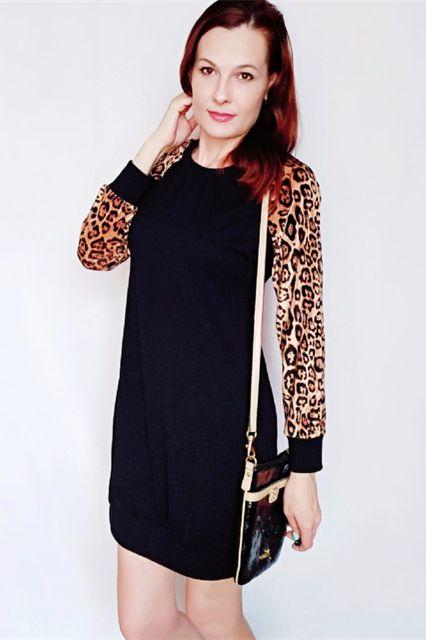 aea1c3d3c0 Leopard Bodycon Raglan Sleeve Women Dress   Officewear in 2019 ...