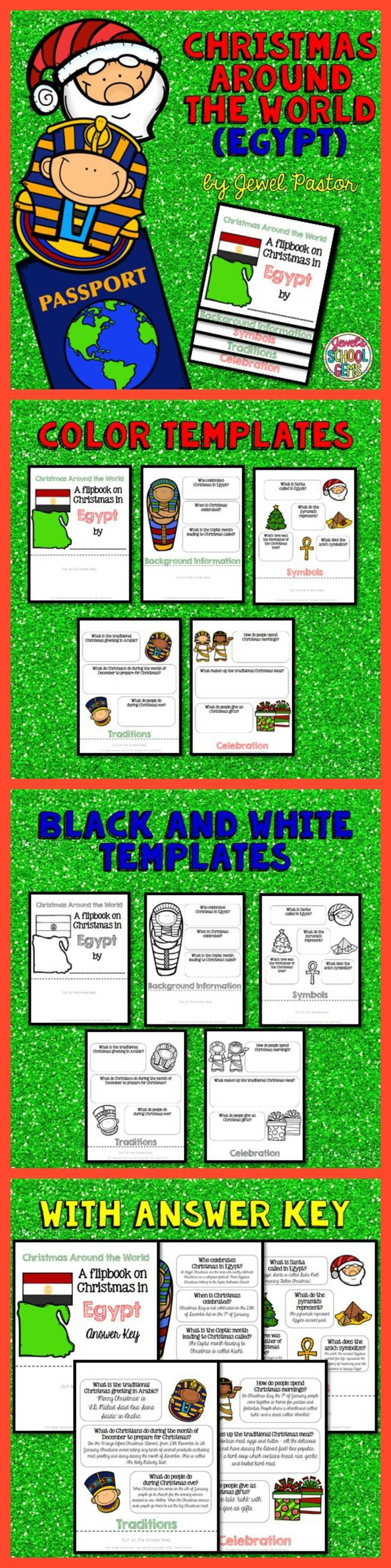 """Christmas Around the World: Christmas Around the World (Egypt)  CHRISTMAS AROUND THE WORLD (EGYPT)  Engage your students with this Christmas Around the World Activity: """"A Research Flipbook on Christmas in Egypt"""".  This resource contains: *5 pages of color templates *5 pages of black and white templates *5 pages with answers to the questions (Answer Key)  Children will learn about Egypt's Christmas traditions and celebrations in a fun and interactive way with this flipbook research project!"""