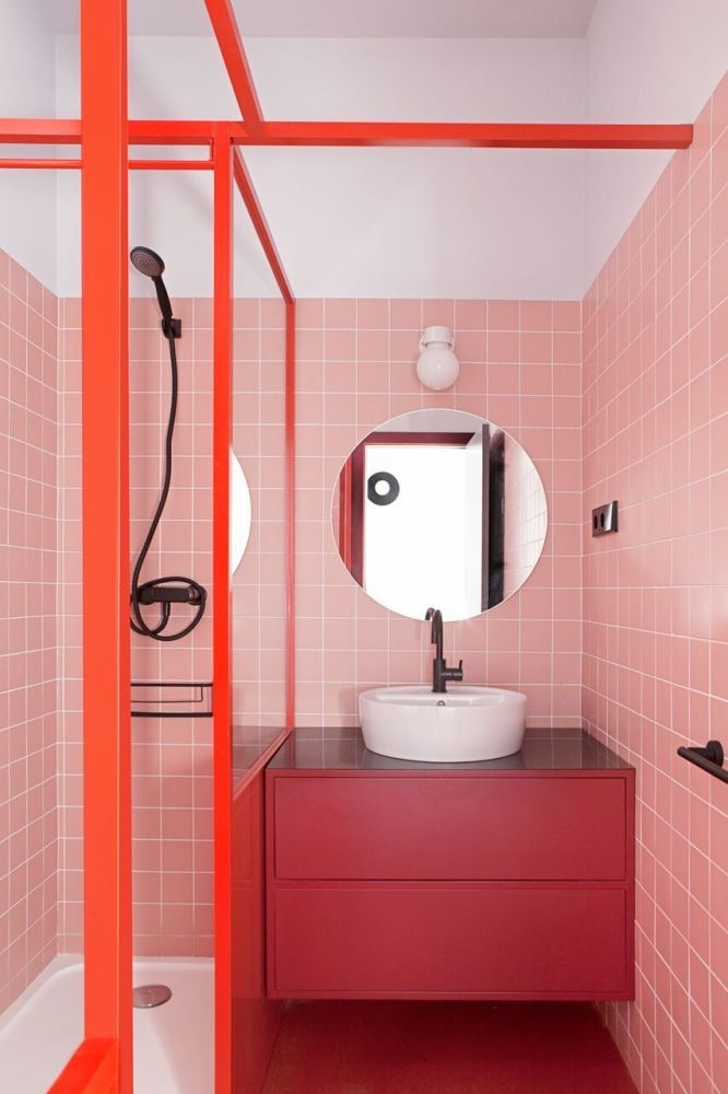 New Red And Pink Color Combination Home Decor Ideas Bathroom Red