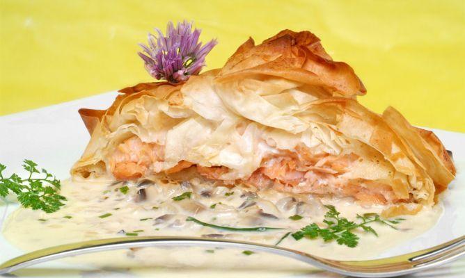 Receta de Tarta crujiente de salmón