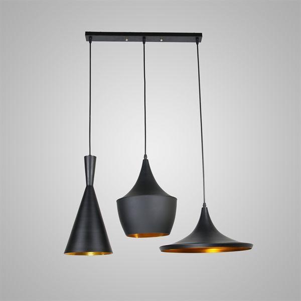 Achetez Plafonnier à 3 Suspensions, Style industriel en Aluminium Noir avec le Meilleur Prix et le Meilleur Service!