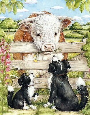 8x6 Art Print Border Collie Dog Puppy Farm Hereford Cow Grazing N Pasture Cattle
