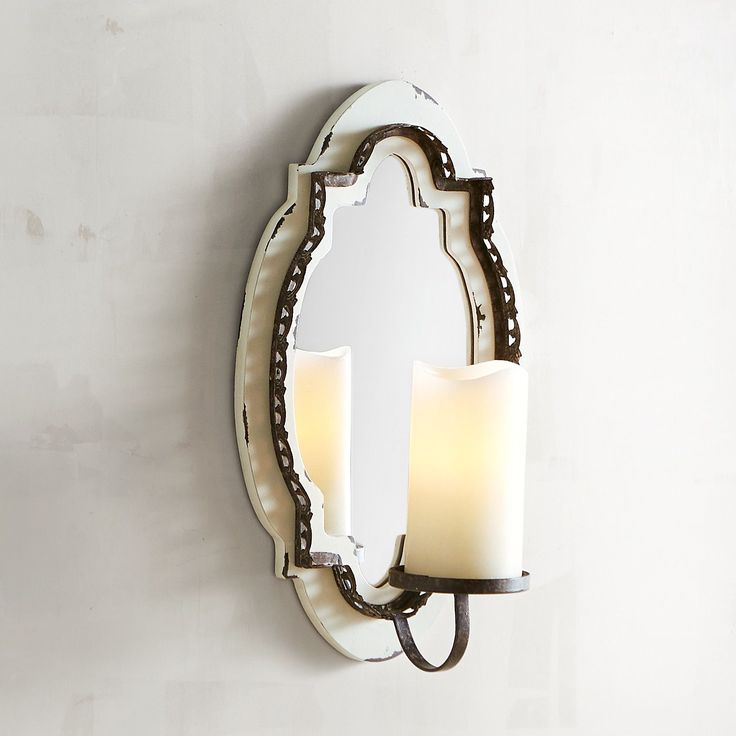 Wood & Mirror Pillar Candle Wall Sconce White