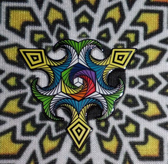 Hexahedron - Trippy Heady Festival Hat Pin psychedelic Sacred Geometry  Grateful Dead Bassnectar Pretty Lights sts9