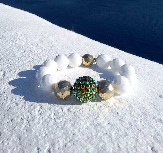 White Beaded Bracelet-Czech Glass Stones Bracelet-Stretch Charm Bracelet-Santorini Handmade Jewelry €35.00