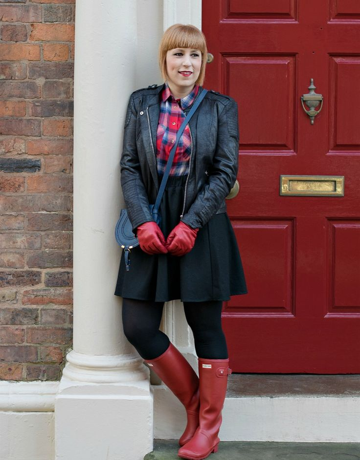 Styling red Hunter boots