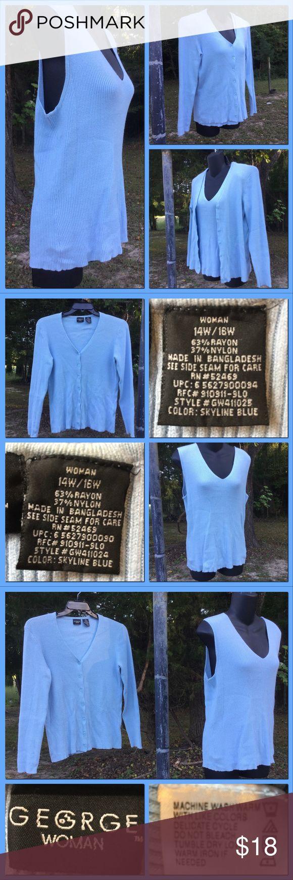 "Sky blue Twin Set EUC. Real nice. Measurements: CARDI: shoulders 14"" sleeves 22.5"" Pit2pit 19.5"" length 24"" hem 18"" TANK: shoulders 15"" Pit2pit 17"" Length 23"" hem 18"".    Tag reads sz. XL (14W-16W) George Women Sweaters Cardigans"