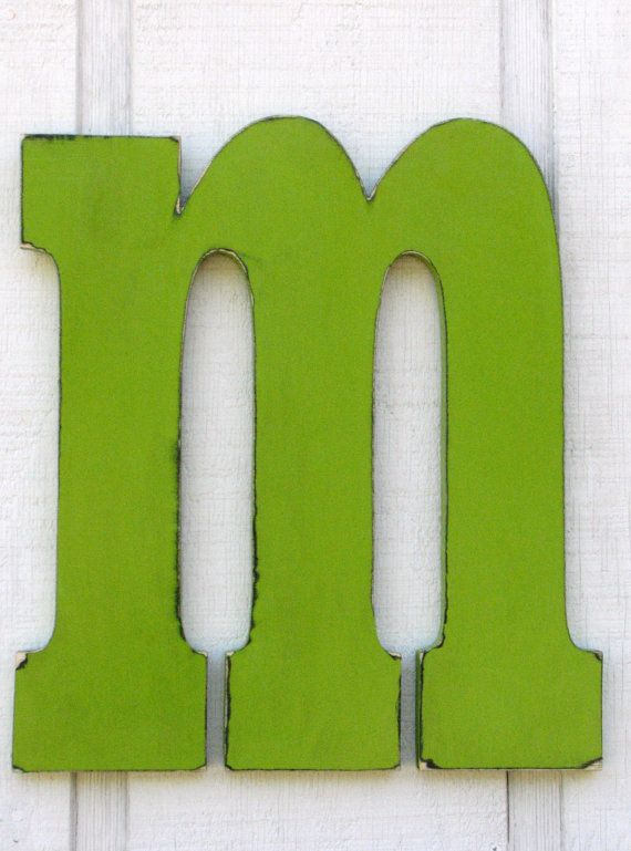 rustic large wooden letters m 18 inch tall lowercase distressed in citrus green home decor baby nursery kids room weddings solid wood kid