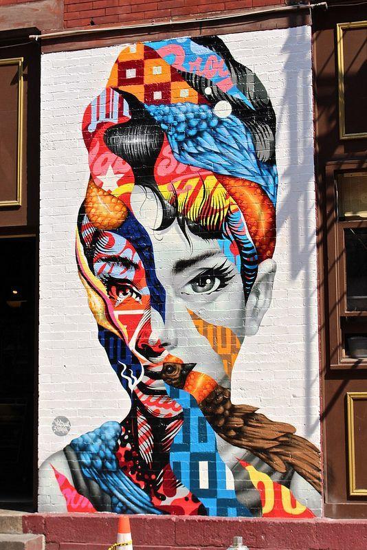 Audrey Hepburn Graffiti in Little Italy - New York City #street art #streetart #graffiti