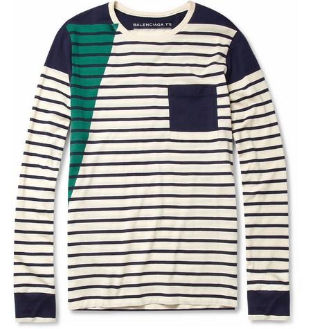 BalenciagaColors Combos, Cotton T Shirts, Homme Clothing, Long Sleeve, Longsleeve Cotton, Mr Porter, Contrast Panels, Balenciaga Stripes, Cotton Tshirt