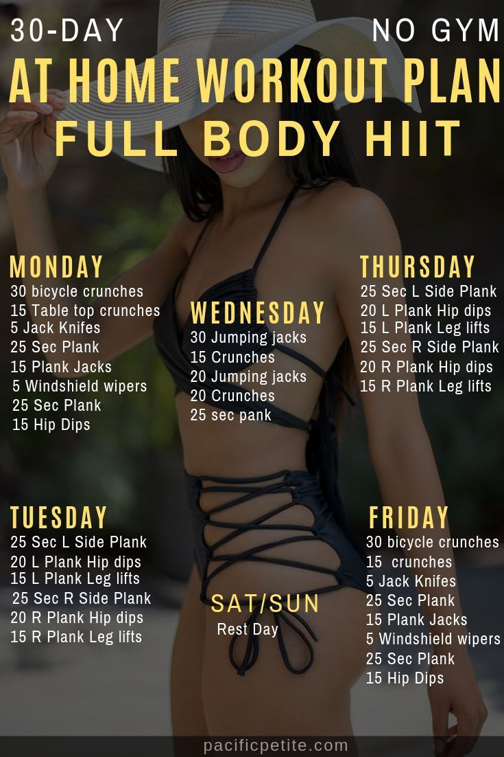 30 Day Full body workout at home, no equipment required
