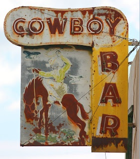 Old Cowboy Bar neon sign to be found in Dodson, Montana, USA