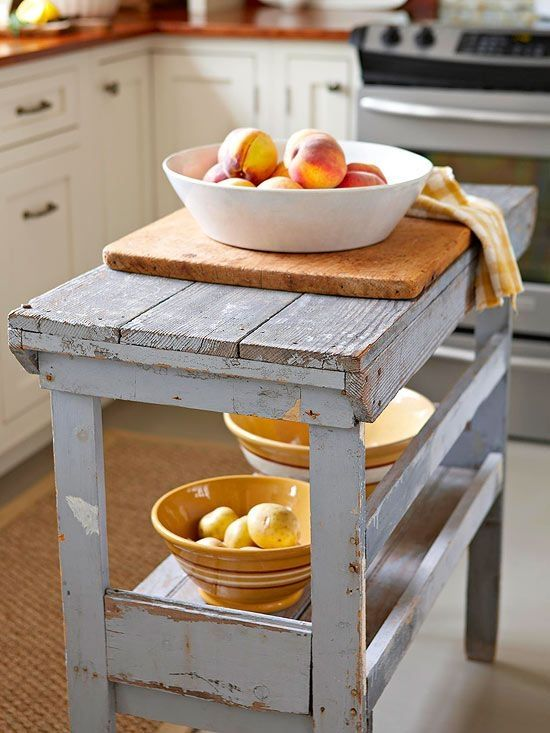 I love this table for an island, perfect for those who have a small kitchen space.
