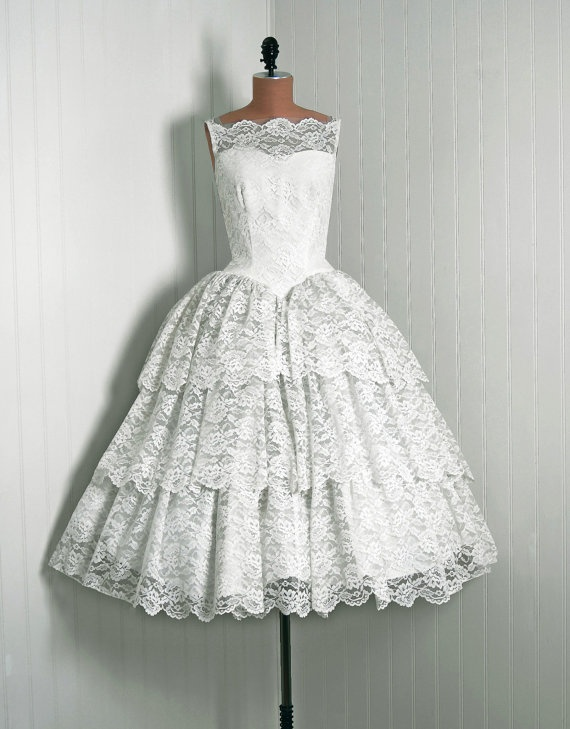 1950's Vintage Ivory-White Beaded Floral-Lace Couture Sweetheart Low-Cut Illusion Bombshell Tiered-Ruffle Full Circle-Skirt Wedding Dress