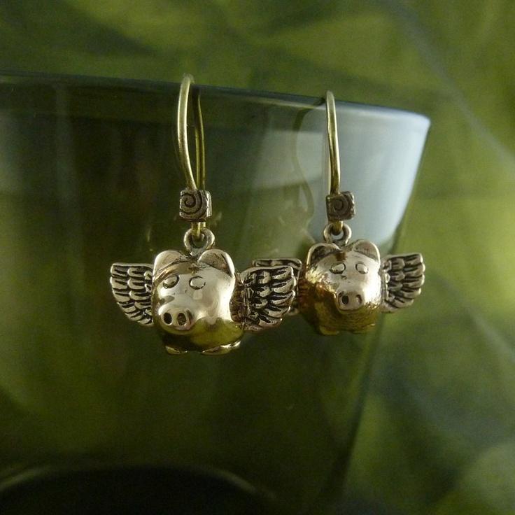Flying Pig Earrings Bronze Flying Pigs - When Pigs Fly. $24.00, via Etsy.