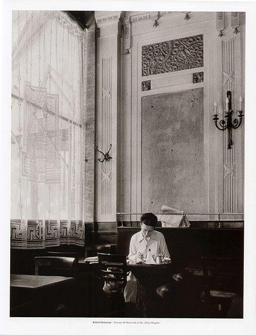 Simone de Beauvoir in Deux Magots by Robert Doisneau