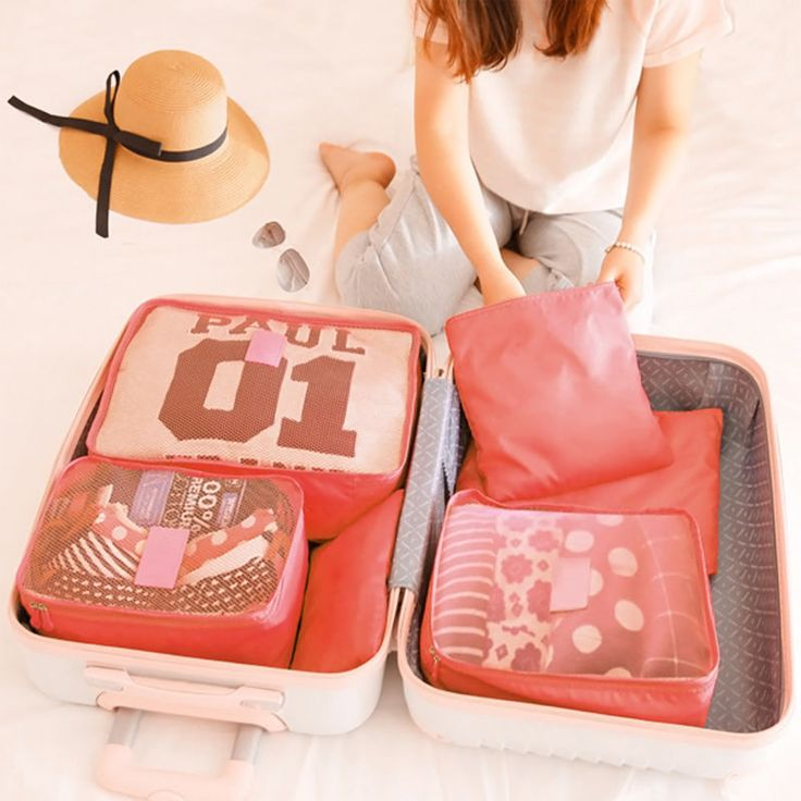 6 Pcs/Set Travel Luggage Organizer Waterproof Clothes Storage Bags Packing  Cube