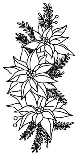 Craft some warm Christmas cheer with this trio of poinsettia flowers. Downloads as a PDF. Use pattern transfer paper to trace design for hand-stitching.