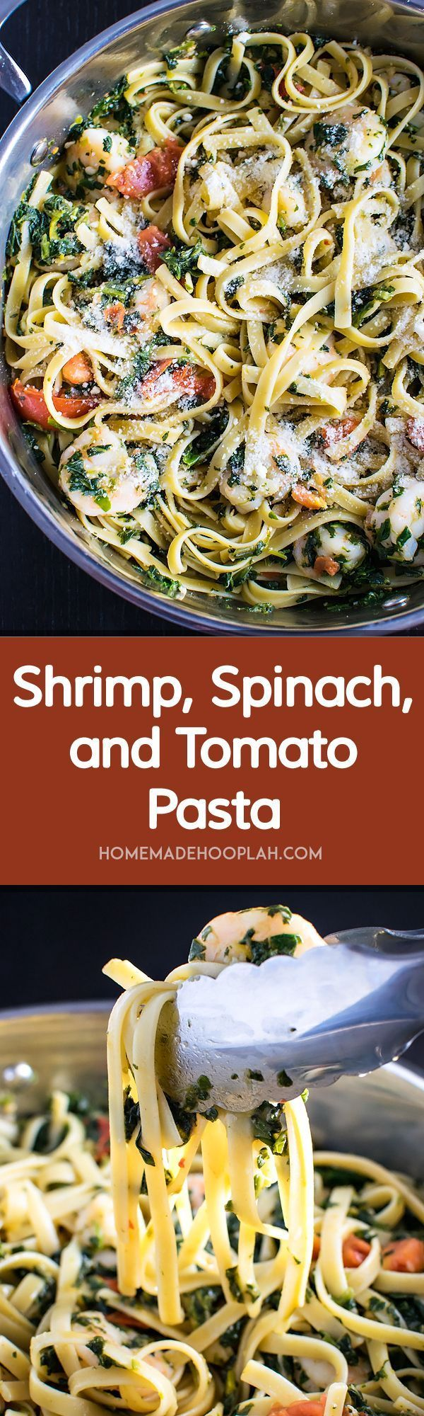 Shrimp Spinach and Tomato Pasta ! Shrimp, spinach, and tomato tangled up with al dente fettuccine in a garlic butter sauce. A quick week night dinner that looks gourmet! | HomemadeHooplah.com
