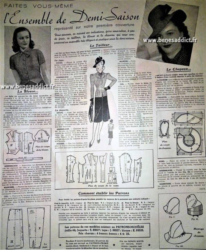 GRATUIT 40 Superbes Patrons de Couture VINTAGE 1938/1941