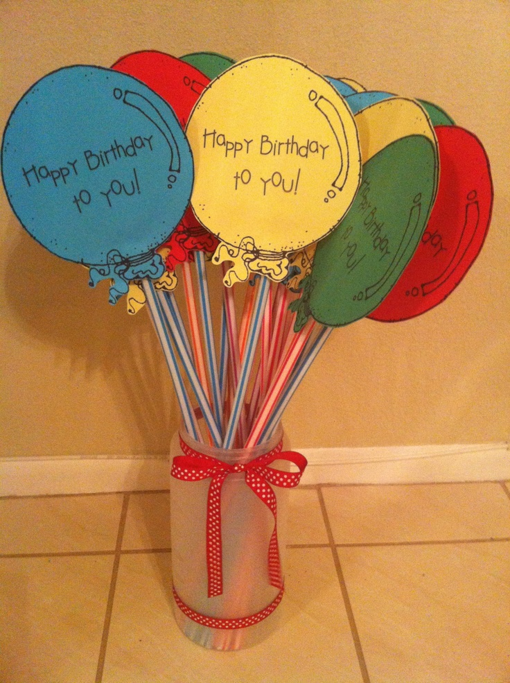 Pixie Stick balloons-- cute for Classroom B-days! LOVE this