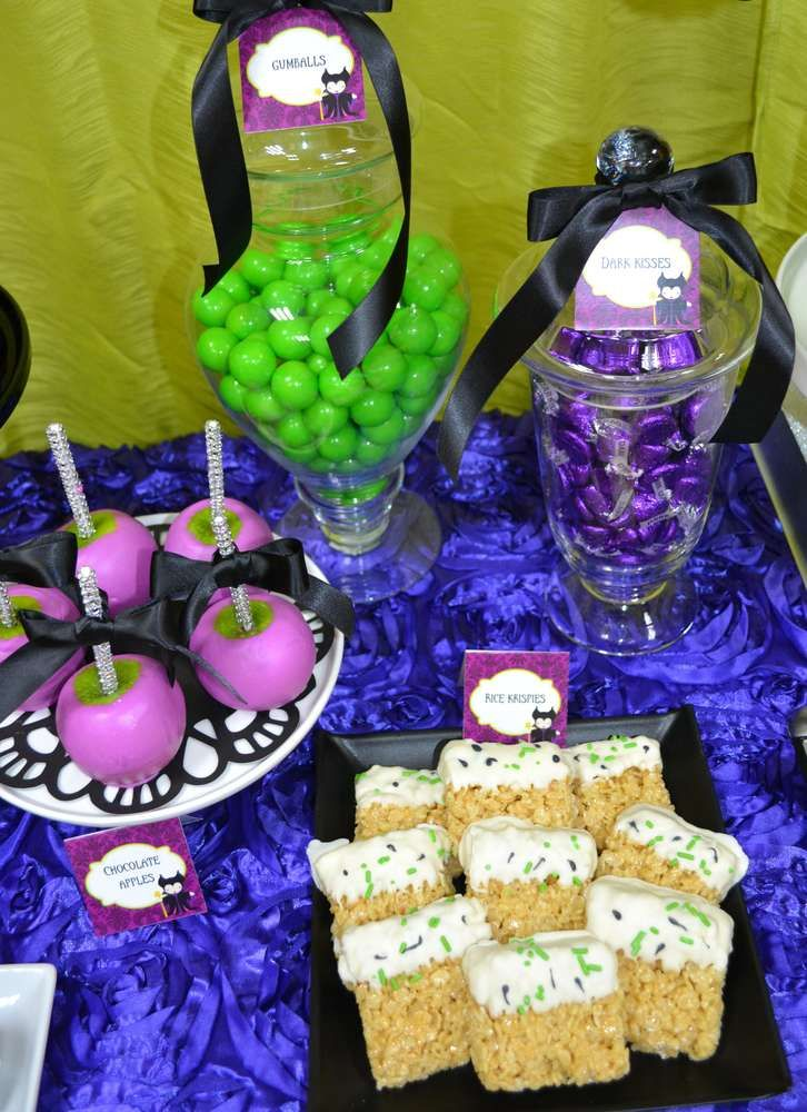 Desserts at a Maleficent birthday party! See more party ideas at CatchMyParty.com!