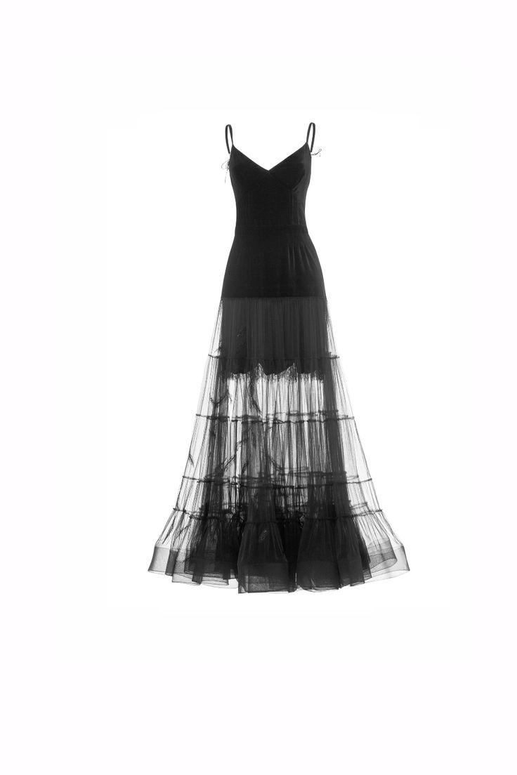 Платье ярусами,  лиф бархат + черная сетка, юбка с вышивкой, сетка черная + бархат черный.