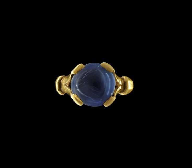 Roman, 3rdC. Gold ring, set with a sapphire.