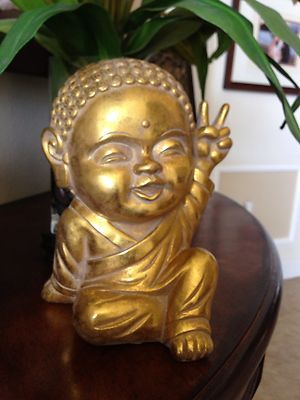 Gold Modern Happy Baby Thai Buddha Peace Sign Good Luck