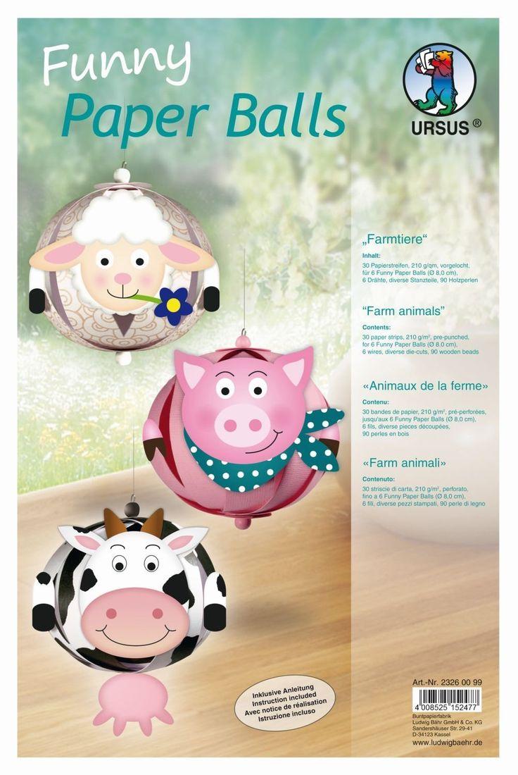 Ursus 23260099 - Funny Paper Balls Farmtiere, 30 Papierstreifen, 210 g / qm, vorgelocht: Amazon.de: Spielzeug