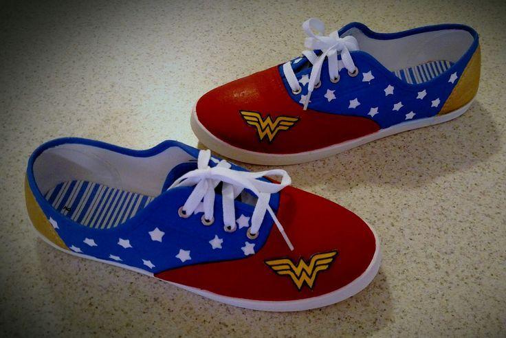 Painted Wonder Woman canvas shoes