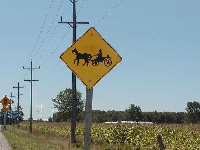 Mennonite crossing sign in Ontario