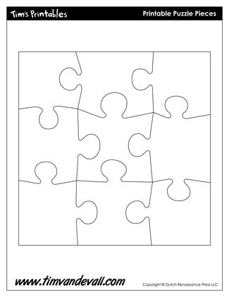 Printable Puzzle Piece Shapes, free for personal arts and crafts projects. For high resolution JPEG (1200x 927) please visit: http://timvandevall.com/free-puzzle-piece-template-blank/