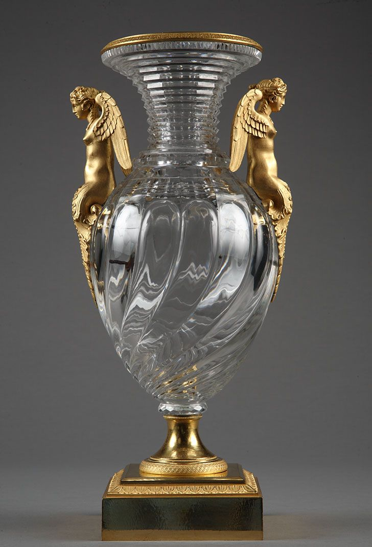 Crystal vase with gilt bronze mounts, circa 1830