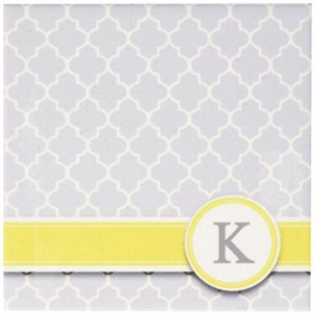3dRose Your personal name initial letter K - monogrammed grey quatrefoil pattern - personalized yellow gray, Ceramic Tile Coasters, set of 4