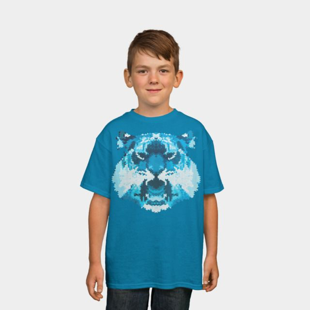 Tigr Kids Tee by Fimbis available as a T Shirt, Phone Case, Tank Top, Crew Neck, Pullover, Zip, and Sticker.  #fashion #tiger #cat #wild #kitty #portrait #teal #animals #kidsfashion #children