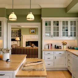 Merveilleux Beauty Exlusive And Paint Color For Kitchen : Amazing Kitchen And Wonderful  With Green Wall Color And Nice Chandelier With Countertop And Small Window  And ...