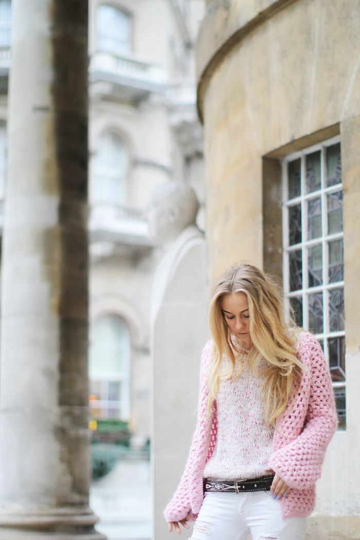 The beautiful Sandra of 5 Inch Up wearing our pink cardigan