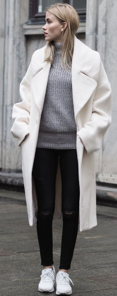 Oversized White Coat Fall Street Style Inspo by Elsa Ekman