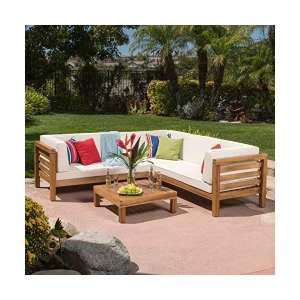 Gdf Studio Ravello Outdoor Patio Furniture 4 Piece Wooden Sectional Sofa Outdoor Sectional Sofa Used Outdoor Furniture Pallet Furniture Outdoor
