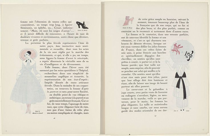 "George Barbier   Gazette du Bon Ton, 1915 - No. 8-9, p. 17: Autours Simples, George Barbier, Lucien Vogel, Heinemann, 1915   Gazette du Bon Ton 1915, No. 8-9, pag. 17: Tekst met illustratie: ""Robe de Callot"": vrouw op de rug gezien met japanse parasol. Linksboven een damesschoen van Ducerf"