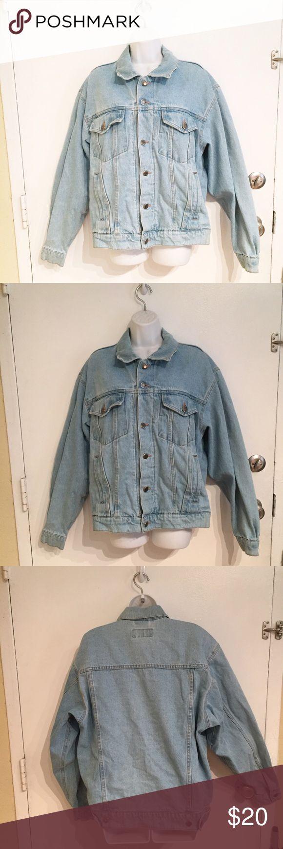 "Wrangler Classic Light Wash Denim Jacket Classic light wash ""worn in"" Denim jacket by Wrangler. Men's medium but could be worn oversized as a women's. Smoke free home. Wrangler Jackets & Coats"