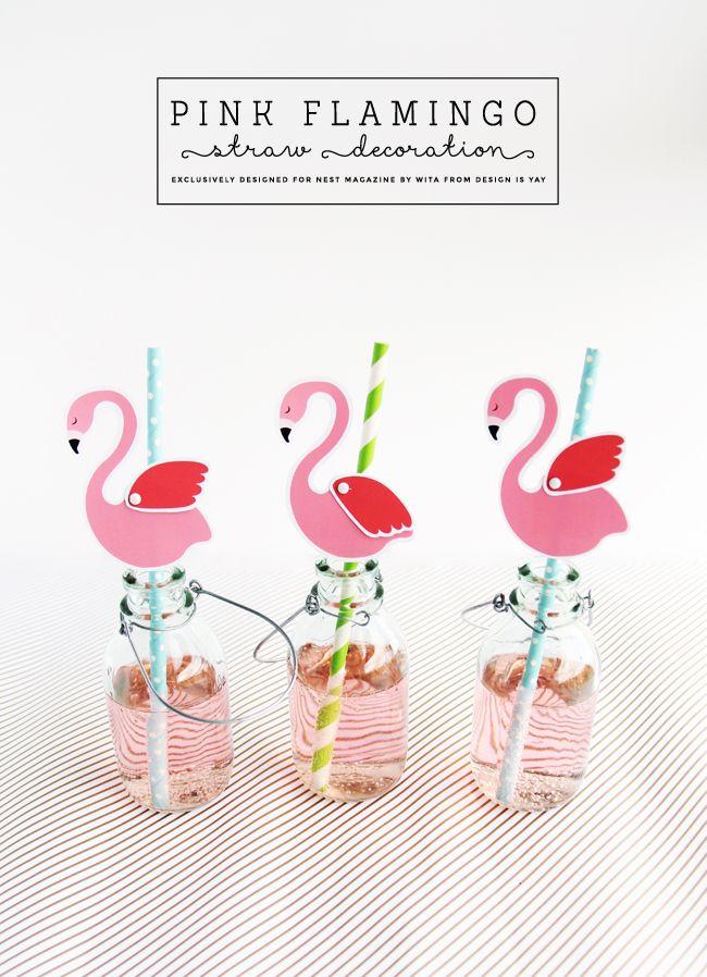 Free Printable Pink #Flamingo Straw Decorations